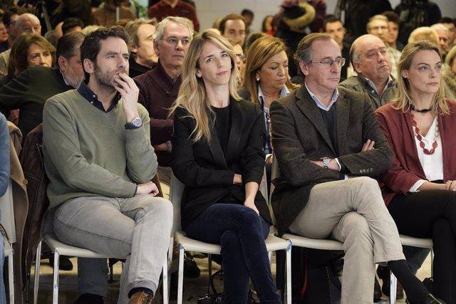 La portaveu del PP al Congrés, Cayetana Álvarez de Toledo, el president del PP basc, Alfonso Alonso, i la secretària general del PP basc, Amaya Fernández.