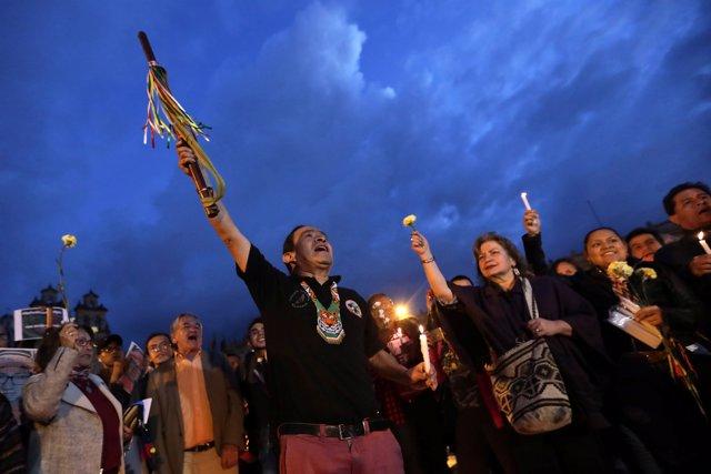 Protesta indígena en Bogotá