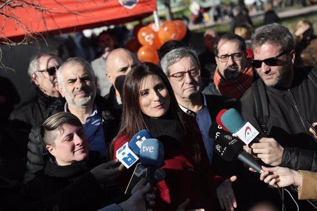 La líder de Cs en Catalunya, Lorena Roldán, en declaraciones a la prensa en Sant Boi de Llobregat (Barcelona).