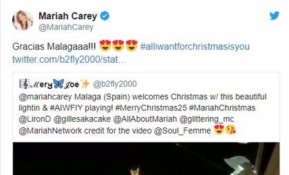 Mariah Carey agradece a Málaga que 'All I want for Christmas is you' amenice la iluminación de Navidad en calle Larios