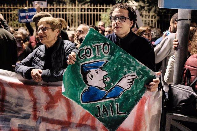Protesta contra Benjamin Netanyahu.
