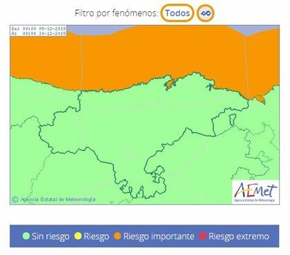 Cantabria estará este lunes en riesgo por oleaje