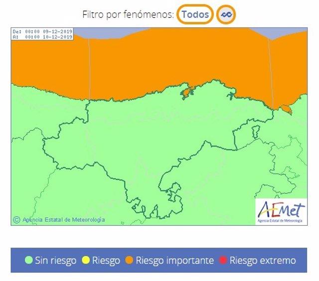 Cantabria, en riesgo de nivel naranja por oleaje el lunes, 9 de diciembre de 2019