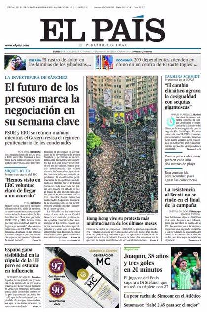 Las portadas de los periódicos del lunes 9 de diciembre de 2019