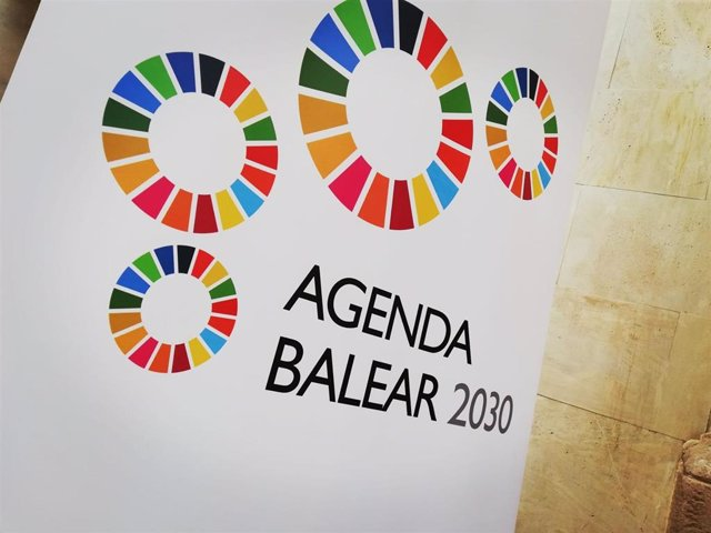 El logo de la 'Agenda Balear 2030', en Ca'n Oleo.