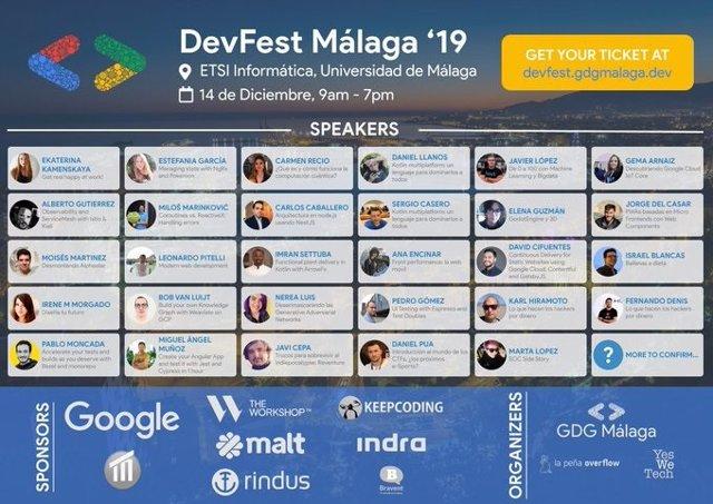 Cartel del DevFest Málaga 2019