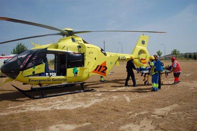 Helicóptero sanitario del 112 de Extremadura, en una imagen de archivo