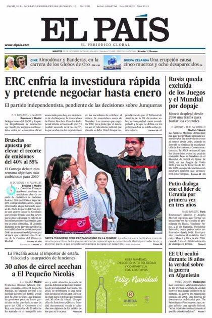 Las portadas de los periódicos del martes 10 de diciembre de 2019