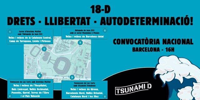 Cartel de la convocatoria de Tsunami Democràtic