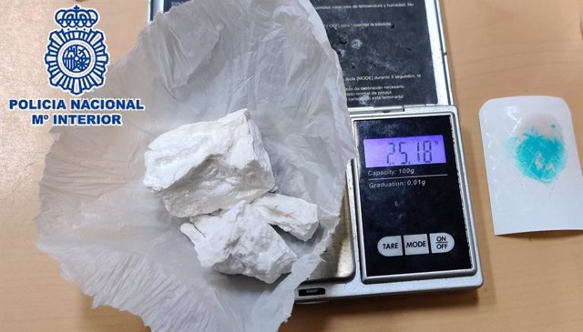 Cocaína incautada a un joven en  Málaga