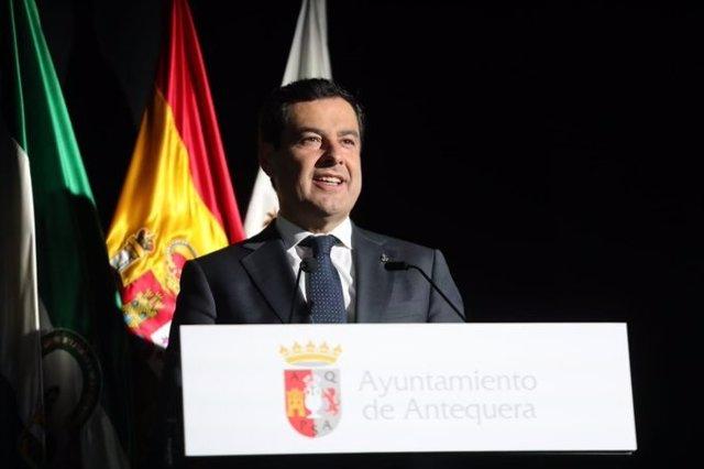 El presidente de la Junta, Juanma Moreno, en un acto en Antequera (Málaga)