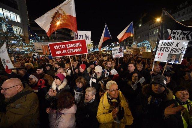 Manifestación en Praga contra el primer ministro de República Checa, Andrej Babis