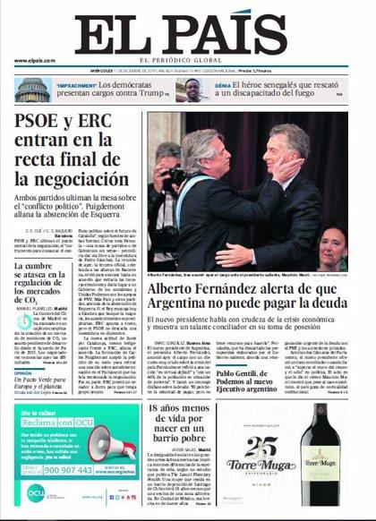 Las portadas de los periódicos del miércoles de diciembre de 2019
