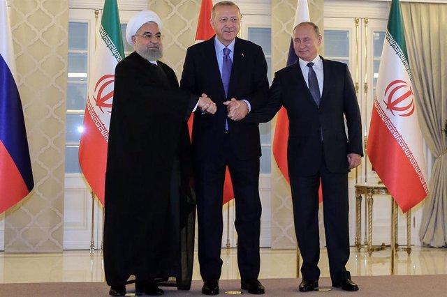 Hasán Rohani, Recep Tayyip Erdogan y Vladimir Putin