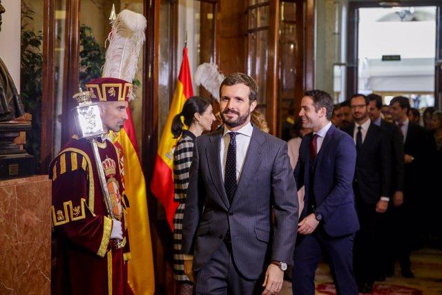 El presidente del PP, Pablo Casado, asiste al acto de Conmemoración del Día de la Constitución en el Congreso de los Diputados, en Madrid (España) a 6 de diciembre de 2019.