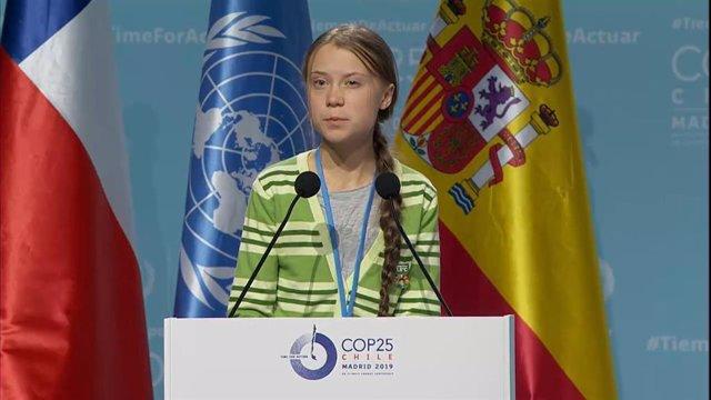La jove activista sueca Greta Thunberg, en el seu discurs durant la Cimera del Clima de Madrid (COP25)