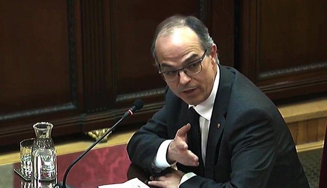L'exconseller de la Presidència de la Generalitat de Catalunya, Jordi Turull, durant la seva intervenció davant el Trubunal Suprem, en l'última jornada del judici del procés.