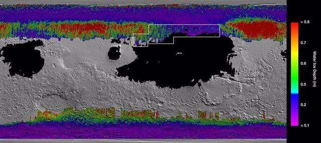 Presencia de hielo de agua a poca profundidad en el suelo de Marte