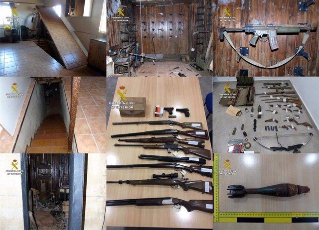 Guardia Civil desmantela en Bullas un zulo con armas y artefactos explosivos y detiene a su propietario