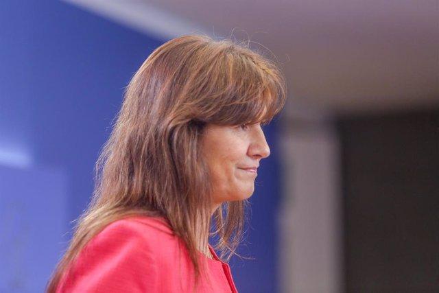 La portaveu del Grup Junts per Catalunya al Congrés dels Diputats, Laura Borrs, ofereix una roda de premsa al Congrés dels Diputats després de la seva consulta amb el rei