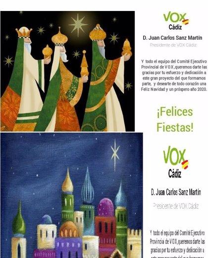 Una felicitación navideña de Vox Cádiz con los tres Reyes Magos blancos se hace viral