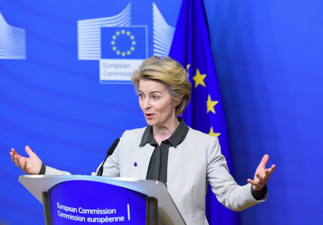 HANDOUT - 11 December 2019, Belgium, Brussels: European Commission President Ursula von der Leyen gives a press statement on the European Green Deal. Photo: Jennifer Jacquemart/European Commission/dpa -