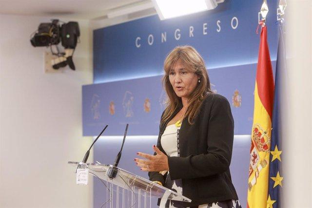 La portaveu de Junts al Congrés, Laura Borràs, en roda de premsa