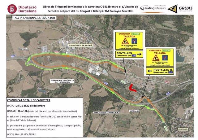 Tall provisional per obres a la C-1413b entre Centelles i Balenyà