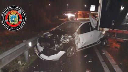 Cuatro heridos y varios kilómetros de retenciones en un accidente en la S-10 en Heras