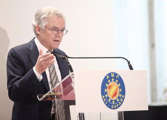 El presidente de la  Comisión Nacional del Mercado de Valores (CNMV), Sebastián Albella, durante su intervención en la Convención Anual Financiera de la Asociación de Mercados Financieros (AMF), en Madrid (España), a 18 e noviembre de 2019.