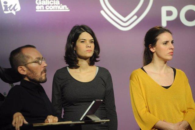 (I-D)  El secretario de Acción de Gobierno, Acción Institucional y Programa de Podemos, Pablo Echenique; la portavoz de Unidas Podemos en la Asamblea de Madrid, Isa Serra; y la número dos de Unidas Podemos al Congreso por Madrid, Irene Montero