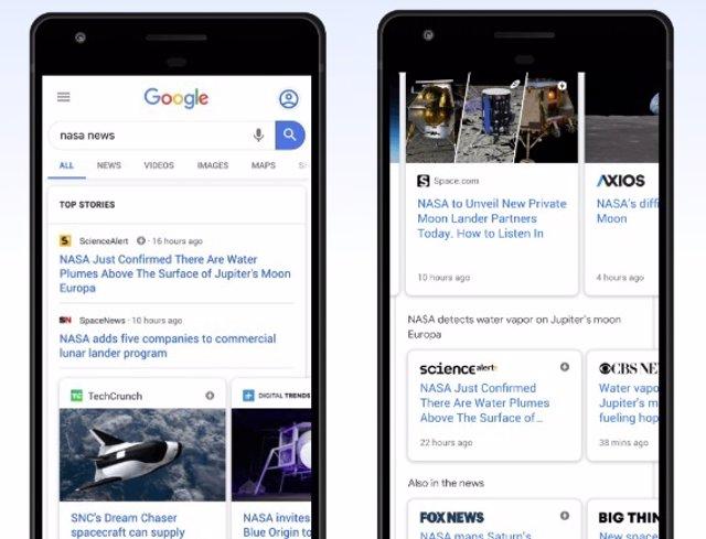 Nbueva estructura de las noticias destacadas en el buscador de Google