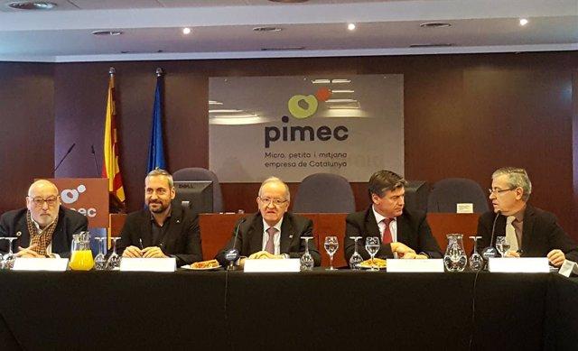 Àlex Goñi, Miquel Camps, Josep González, Antoni Cañete i Modest Guinjoan (Pimec)