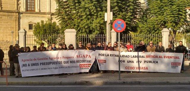 Imagen de la concentración de las secciones sindicales de Agapa, Amaya y Veiasa ante el Parlamento de Andalucía.