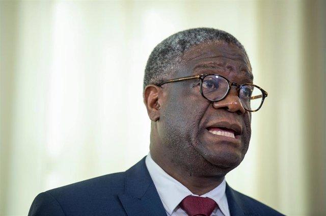 24 June 2019, Baden-Wuerttemberg, Tuebingen: Congolese gynecologist Denis Mukwege, Nobel Peace Prize winner from 2018, speaks at a press conference at the State Ministry in the Villa Reitzenstein. Photo: Fabian Sommer/dpa