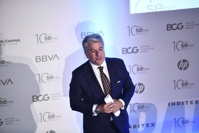El presidente de Accenture España, Juan Pedro Moreno, durante su intervención en la jornada 'RadarSeres' organizada por la Fundación Seres en el Teatro Real de Madrid (España), a 8 de octubre de 2019.