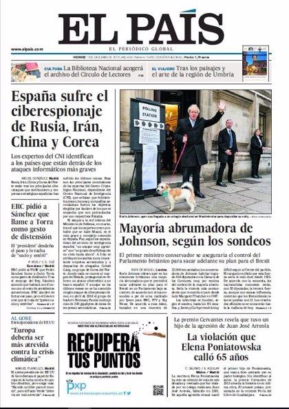 Las portadas de los periódicos del viernes 13 de diciembre de 2019