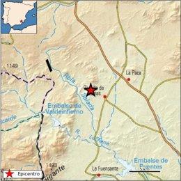 Imagen de la localización del terremoto