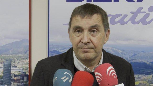 El coordinador de EH Bildu, Arnaldo Otegi, en una entrevixta a Bizkaia Irratia