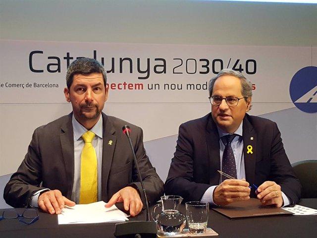 El president de la Cambra de comer de Barcelona, Joan Canadell, i el president de la Generalitat, Quim Torra