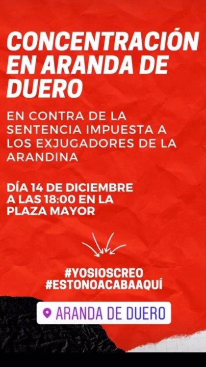 Convocada una concentración en Aranda de Duero (Burgos) contra la sentencia del 'Caso Arandina'