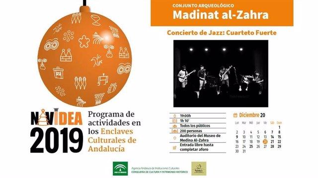 Cartel del concierto de Cuarteto Fuerte en Medina Azahara