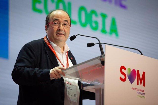 El primer secretario del PSC, Miquel Iceta, durante su intervención en el Congreso del PSC en el que se presenta a la reelección como primer secretario del partido, en el Palau de Congressos de Catalunya, en Barcelona a 13 de diciembre de 2019.