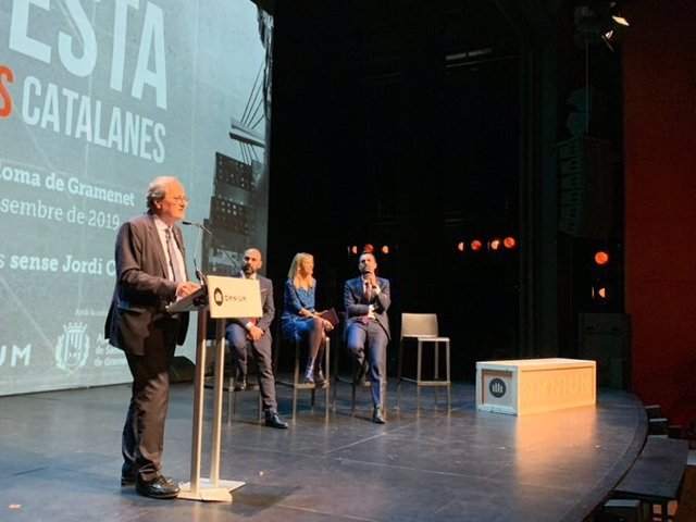 El presidenta de la Generalitat, Quim Torra, interviene en la 69 Nit de Santa Llúcia de Òmnium Cultural