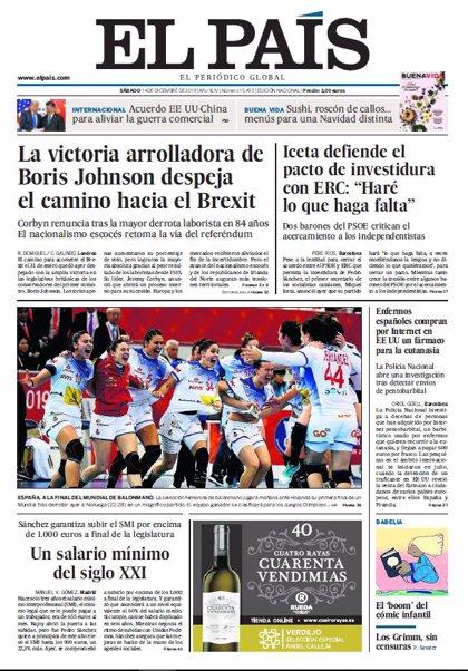 Las portadas de los periódicos del sábado 14 de diciembre de 2019