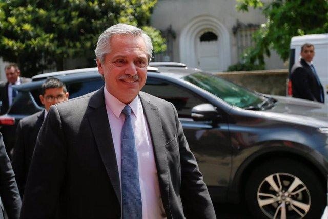 El presidente de Argentina, Alberto Fernández, en su visita a Montevideo (Uruguay)