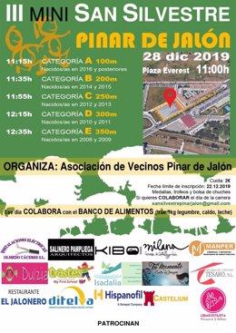 Cartel de la Mini San Silvestre del barrio vallisoletano de Pinar de Jalón.