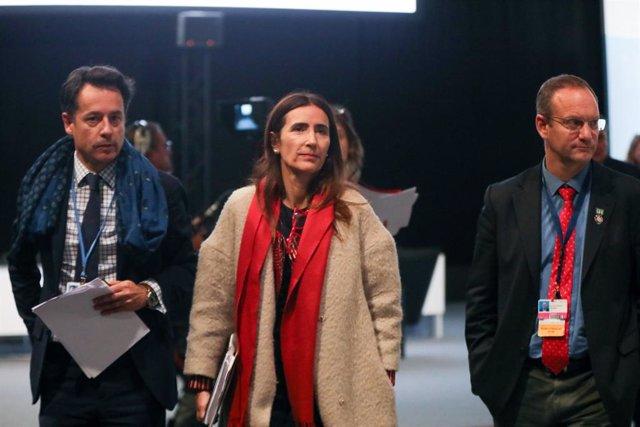 La presidenta de la COP25, Carolina Schmidt, en el plenari d'aquest dissabte al matí a la Cimera del Clima, Madrid (Espanya) 14 de desembre del 2019.