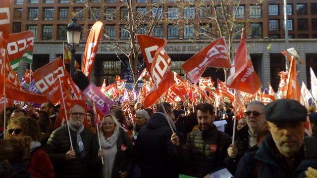 Encarna Chacón en la manifestación en Madrid