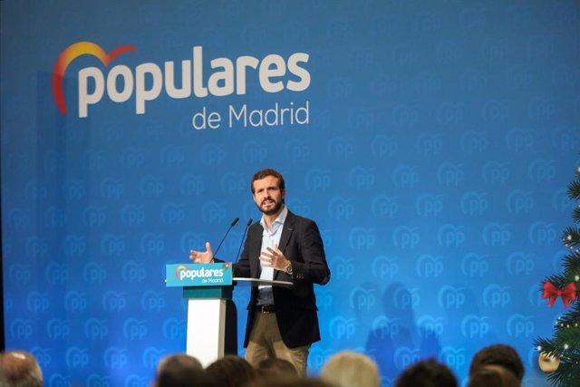 El president nacional del PP, Pablo Casado en el tradicional menjar de Nadal del PP de la Comunitat de Madrid, 14 de desembre del 2019